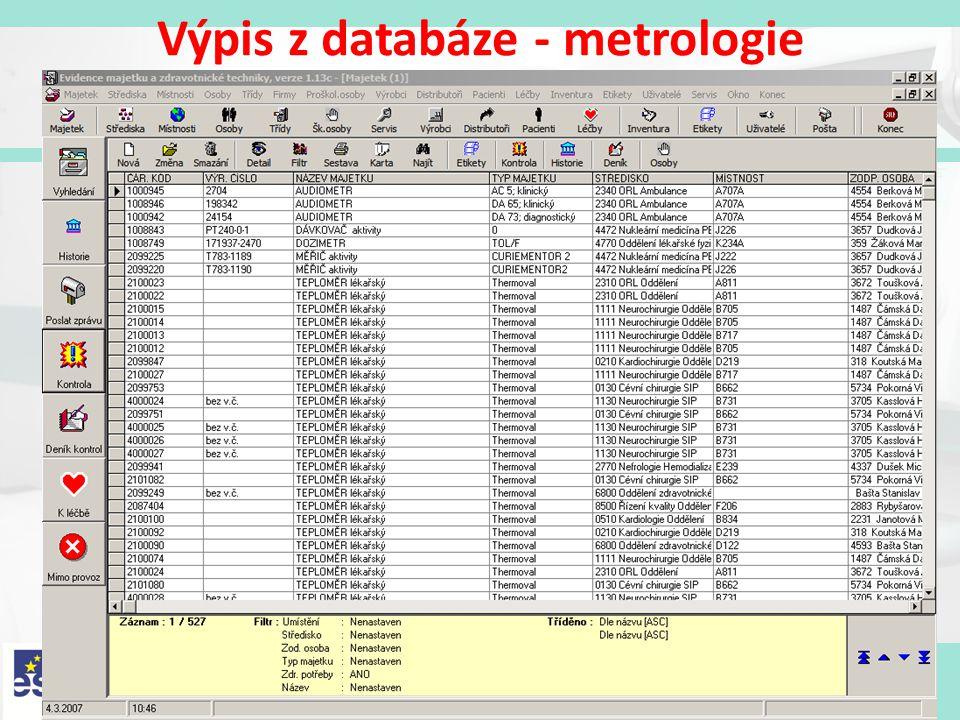 Výpis z databáze - metrologie