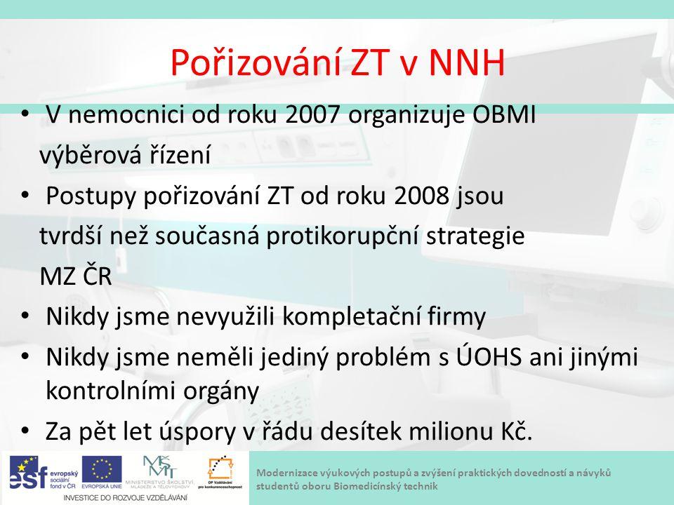 Pořizování ZT v NNH V nemocnici od roku 2007 organizuje OBMI