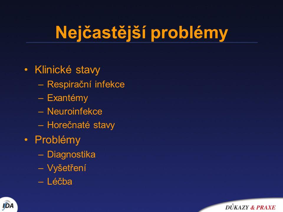 Nejčastější problémy Klinické stavy Problémy Respirační infekce