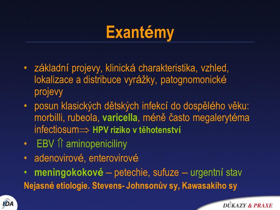 Exantémy základní projevy, klinická charakteristika, vzhled, lokalizace a distribuce vyrážky, patognomonické projevy.