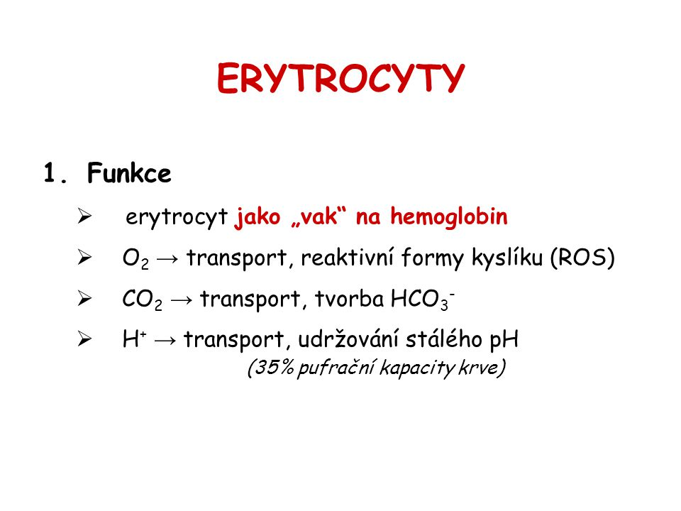 """ERYTROCYTY Funkce erytrocyt jako """"vak na hemoglobin"""