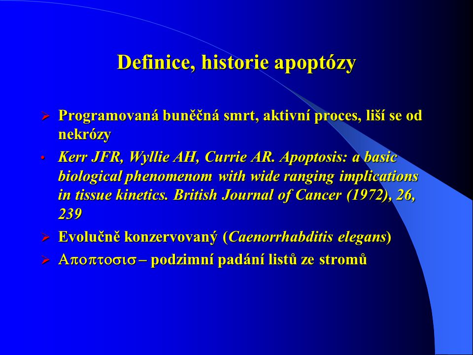 Definice, historie apoptózy