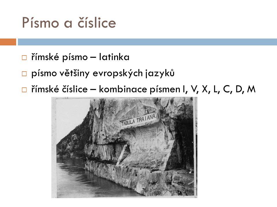 Písmo a číslice římské písmo – latinka písmo většiny evropských jazyků
