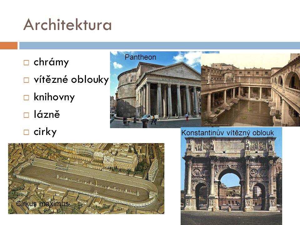 Architektura chrámy vítězné oblouky knihovny lázně cirky Pantheon