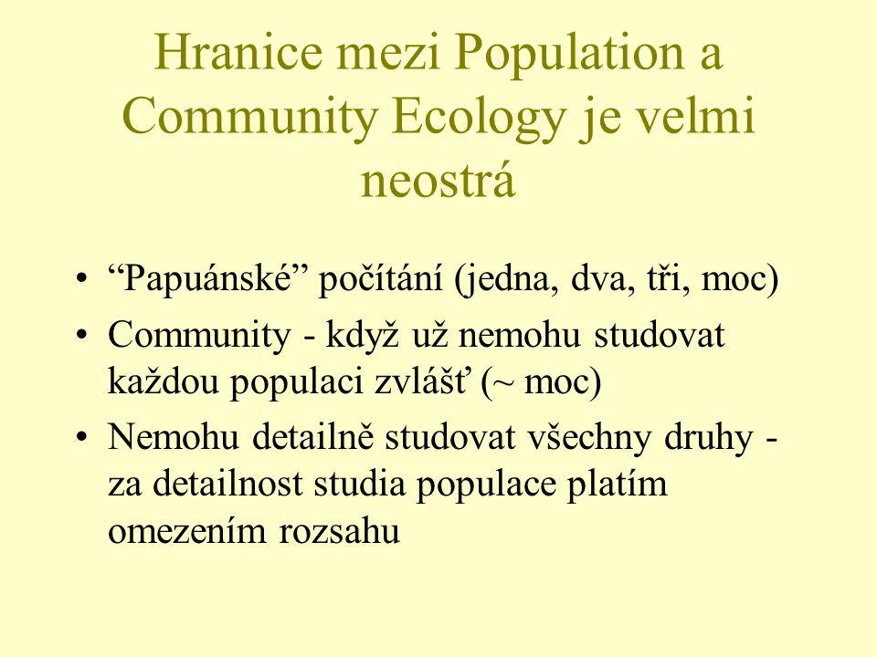 Hranice mezi Population a Community Ecology je velmi neostrá