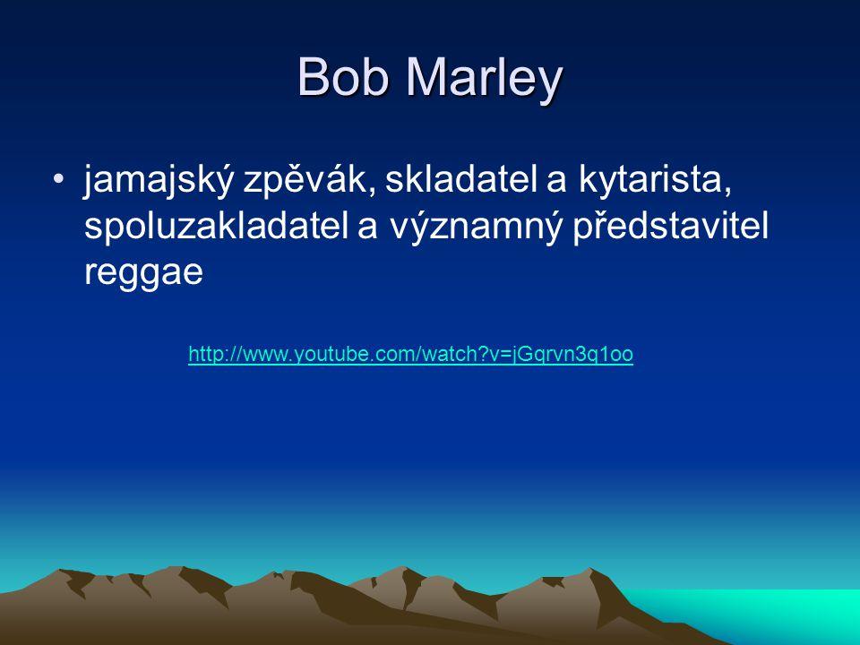 Bob Marley jamajský zpěvák, skladatel a kytarista, spoluzakladatel a významný představitel reggae.