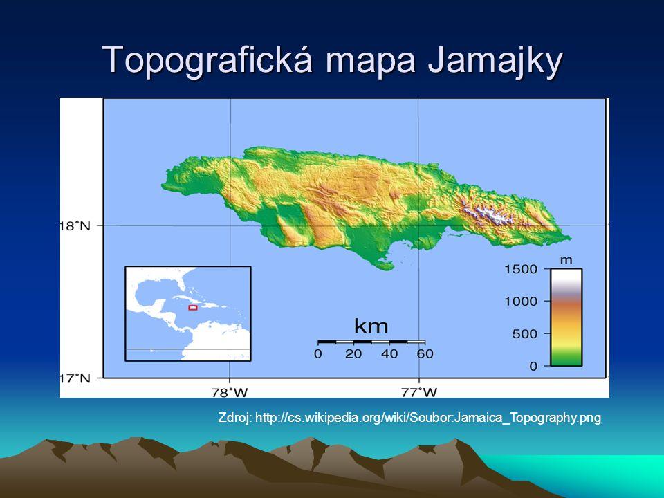 Topografická mapa Jamajky