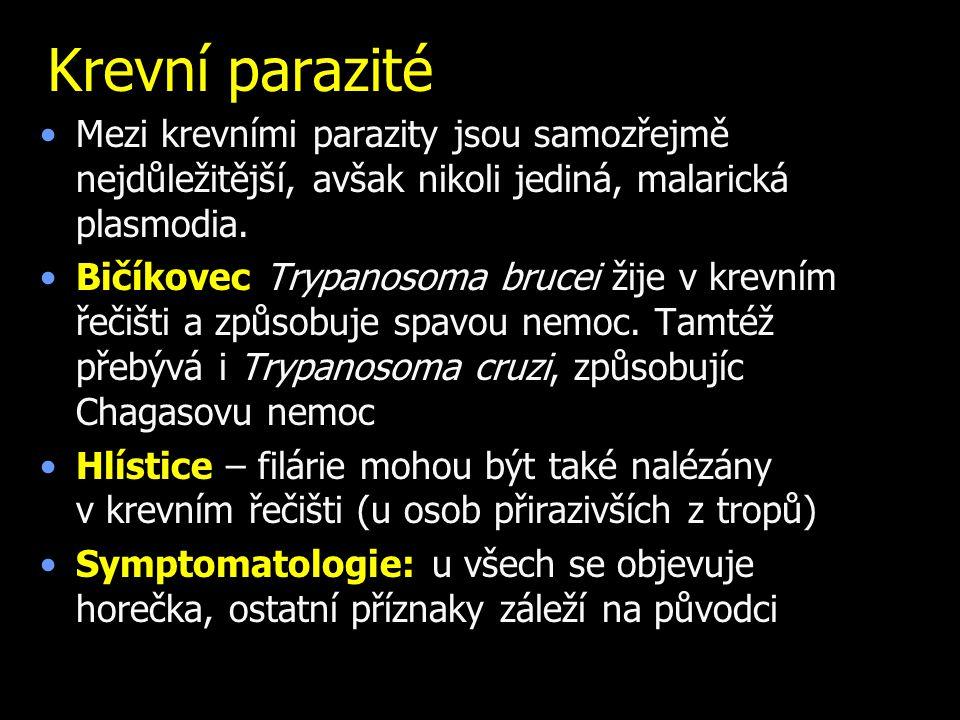 Krevní parazité Mezi krevními parazity jsou samozřejmě nejdůležitější, avšak nikoli jediná, malarická plasmodia.