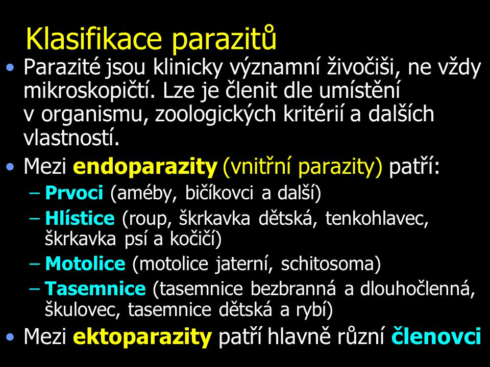 Klasifikace parazitů