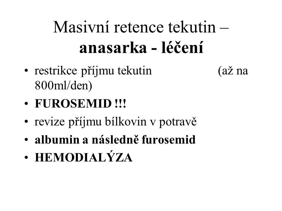 Masivní retence tekutin – anasarka - léčení