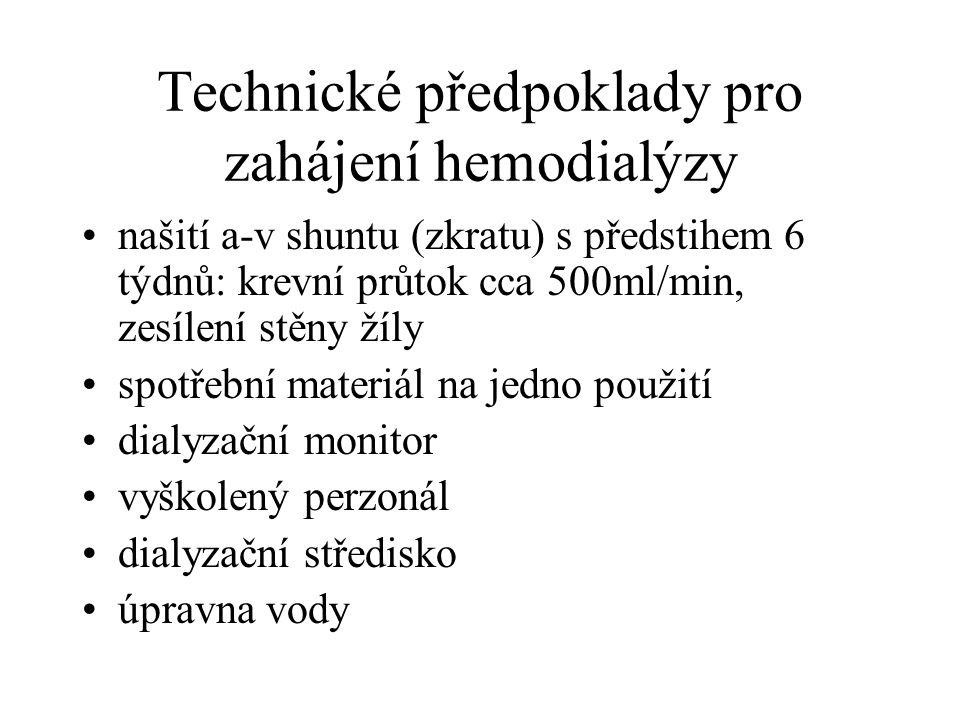 Technické předpoklady pro zahájení hemodialýzy