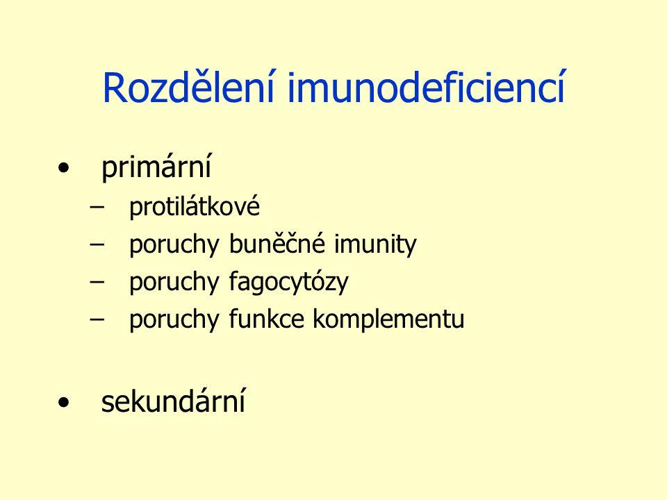 Rozdělení imunodeficiencí
