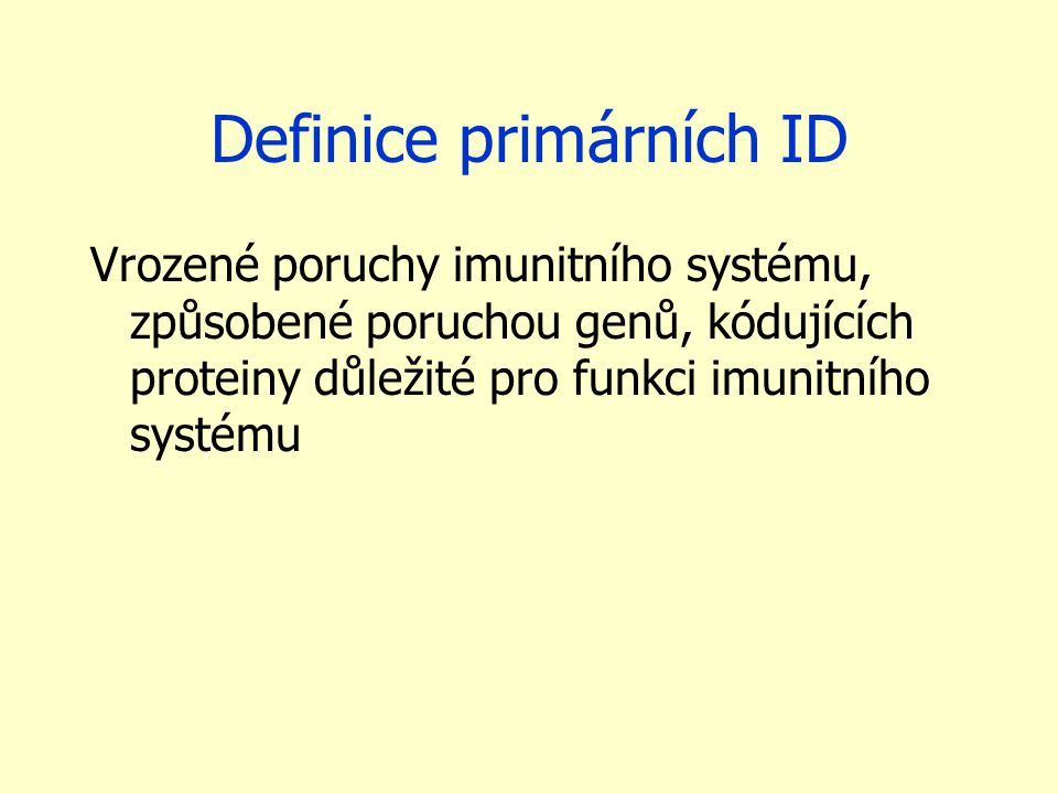 Definice primárních ID