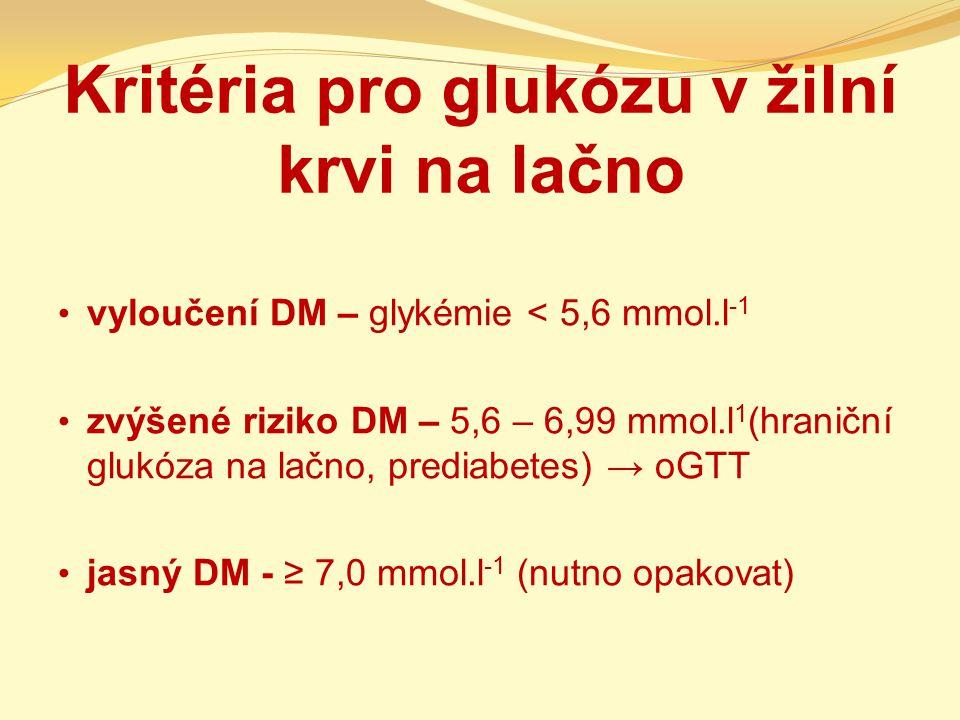 Kritéria pro glukózu v žilní krvi na lačno