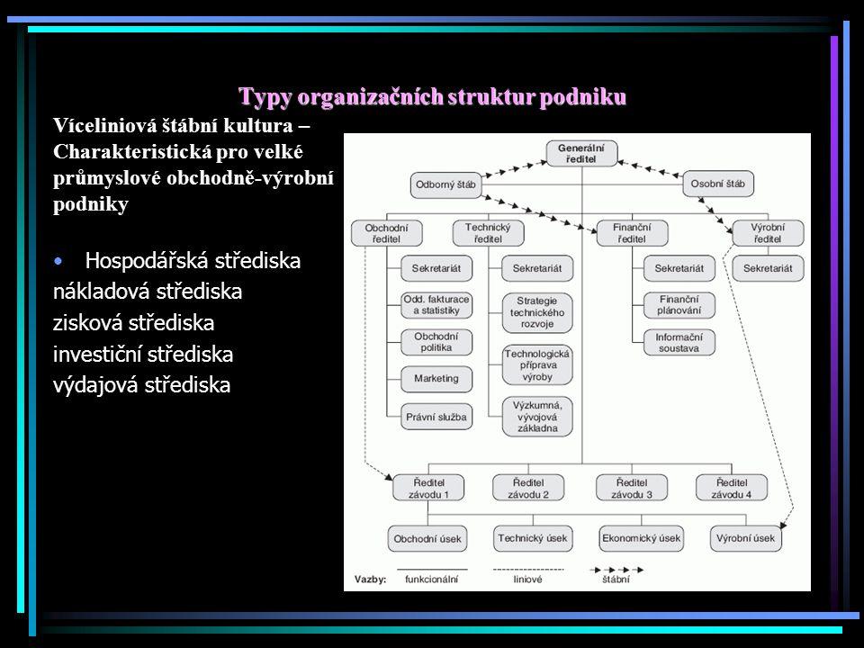 Typy organizačních struktur podniku