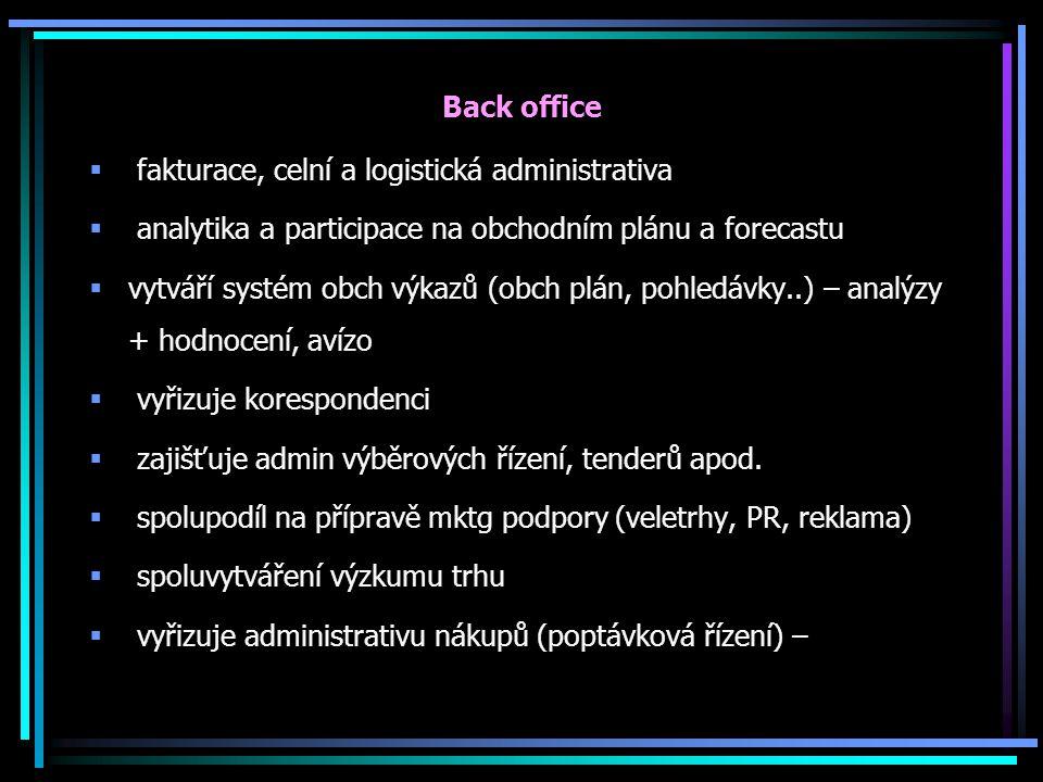 Back office fakturace, celní a logistická administrativa. analytika a participace na obchodním plánu a forecastu.
