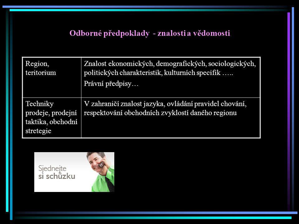 Odborné předpoklady - znalosti a vědomosti