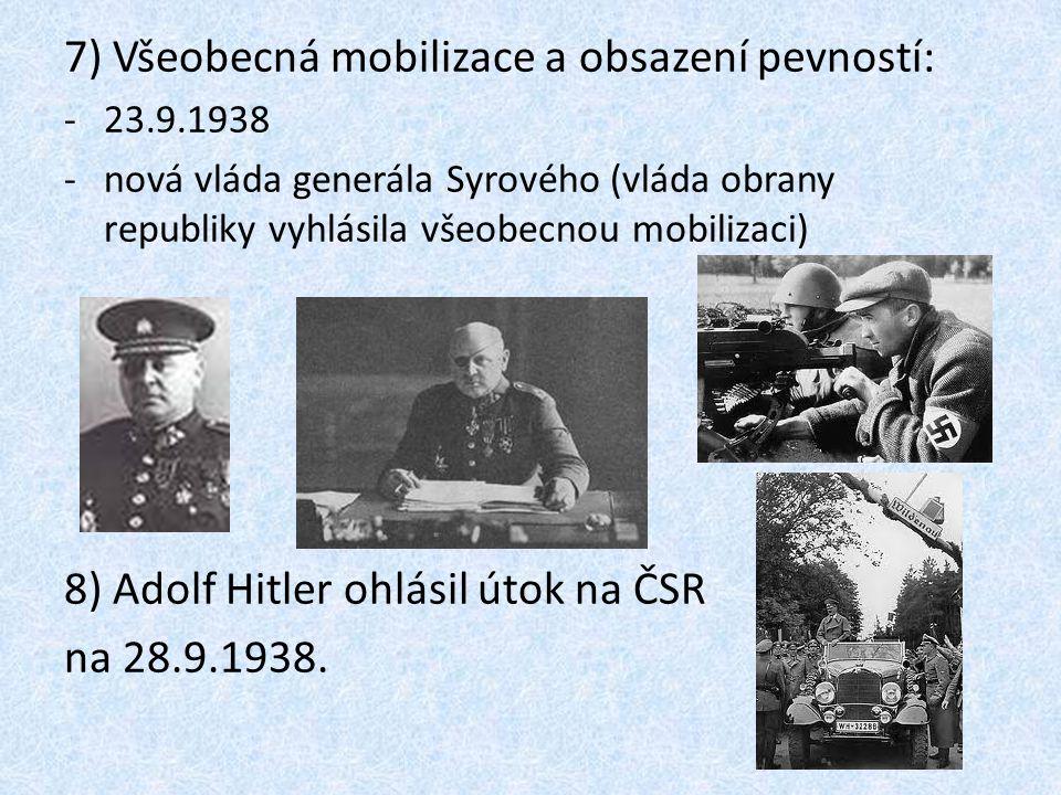 7) Všeobecná mobilizace a obsazení pevností: