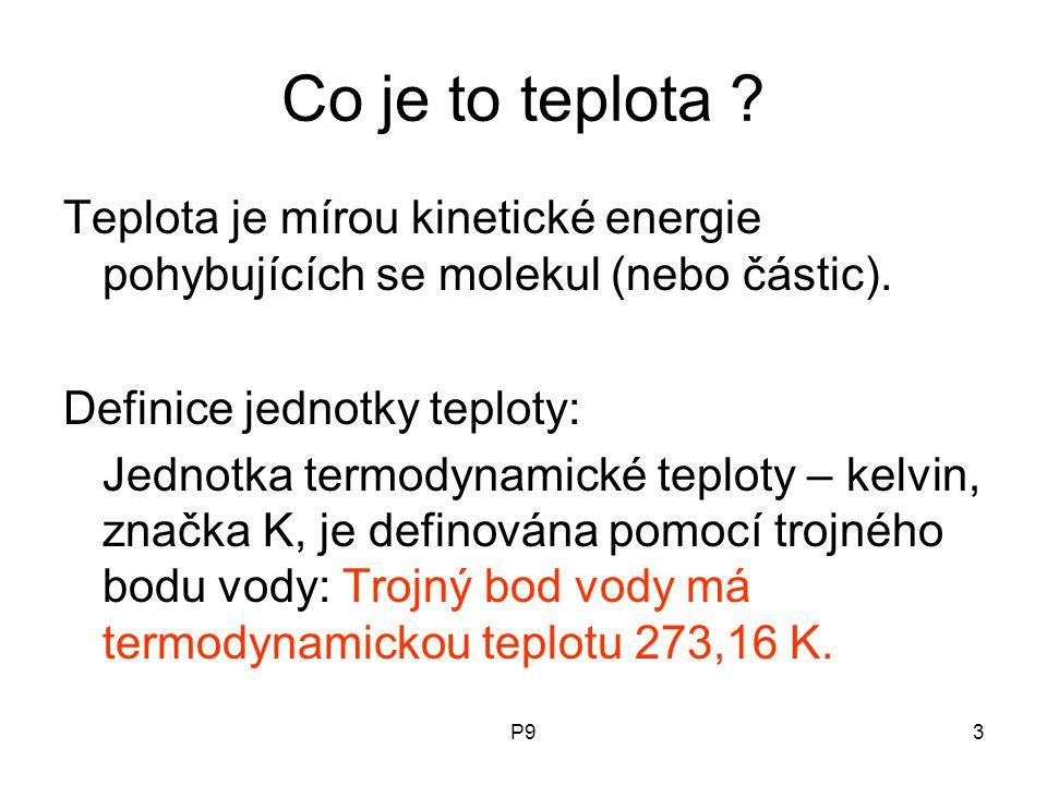 Co je to teplota Teplota je mírou kinetické energie pohybujících se molekul (nebo částic). Definice jednotky teploty: