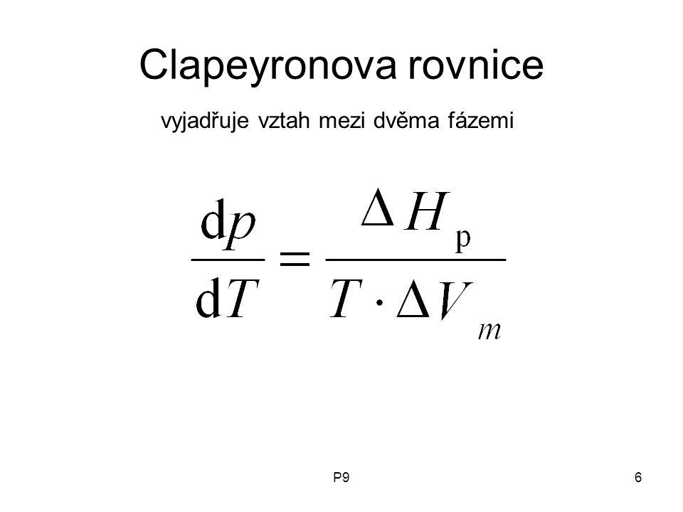 Clapeyronova rovnice vyjadřuje vztah mezi dvěma fázemi P9
