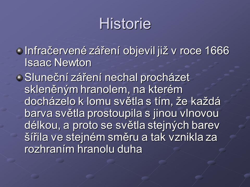 Historie Infračervené záření objevil již v roce 1666 Isaac Newton