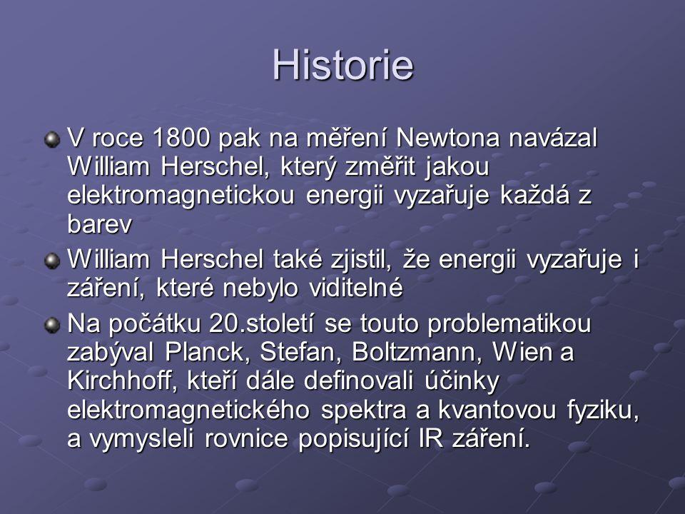 Historie V roce 1800 pak na měření Newtona navázal William Herschel, který změřit jakou elektromagnetickou energii vyzařuje každá z barev.