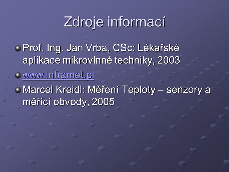 Zdroje informací Prof. Ing. Jan Vrba, CSc: Lékařské aplikace mikrovlnné techniky, 2003. www.inframet.pl.