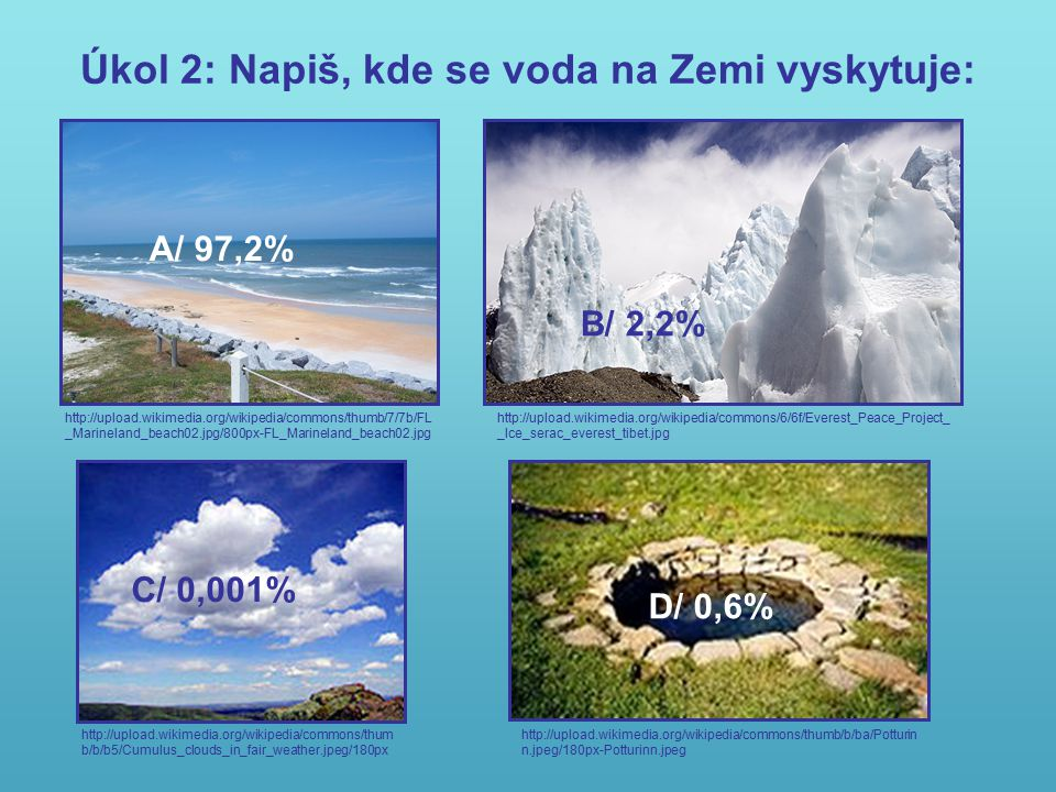 Úkol 2: Napiš, kde se voda na Zemi vyskytuje: