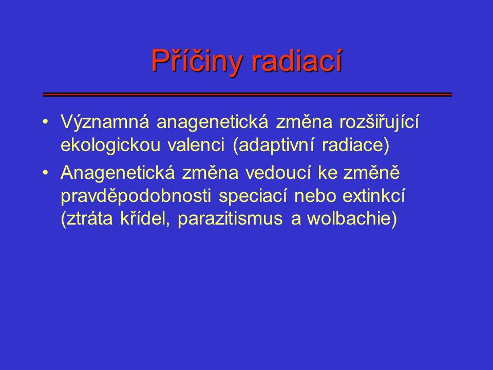 Příčiny radiací Významná anagenetická změna rozšiřující ekologickou valenci (adaptivní radiace)