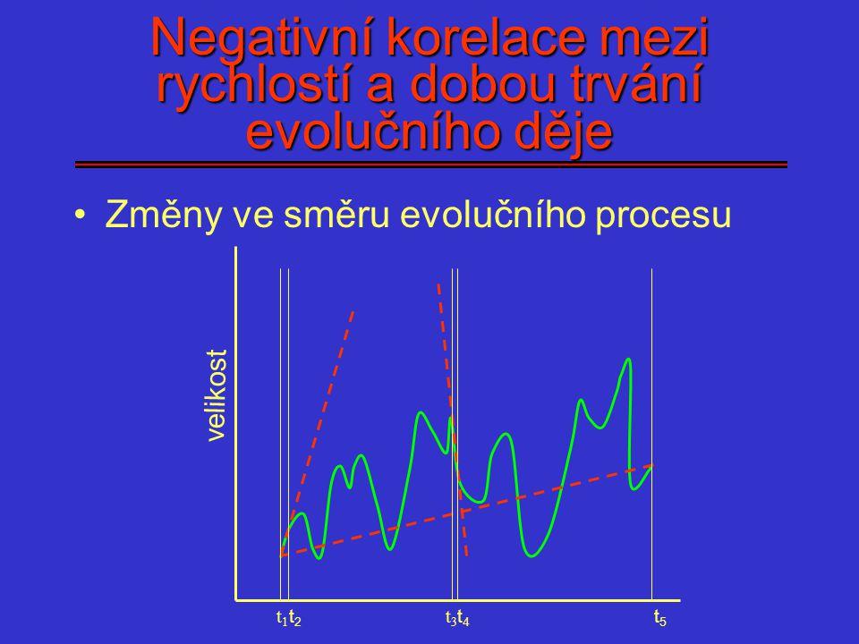 Negativní korelace mezi rychlostí a dobou trvání evolučního děje