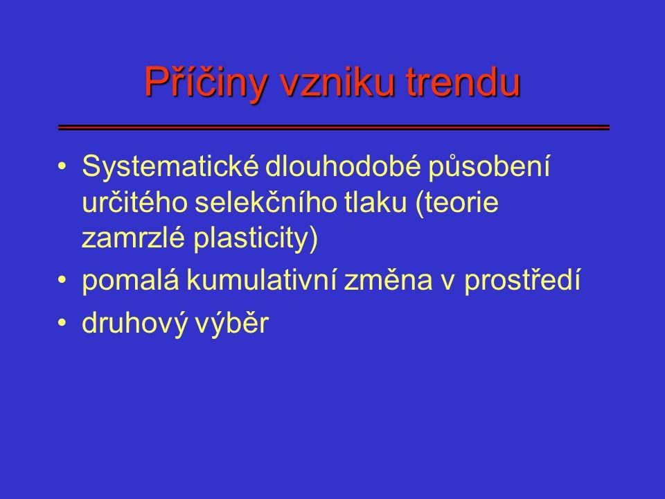 Příčiny vzniku trendu Systematické dlouhodobé působení určitého selekčního tlaku (teorie zamrzlé plasticity)