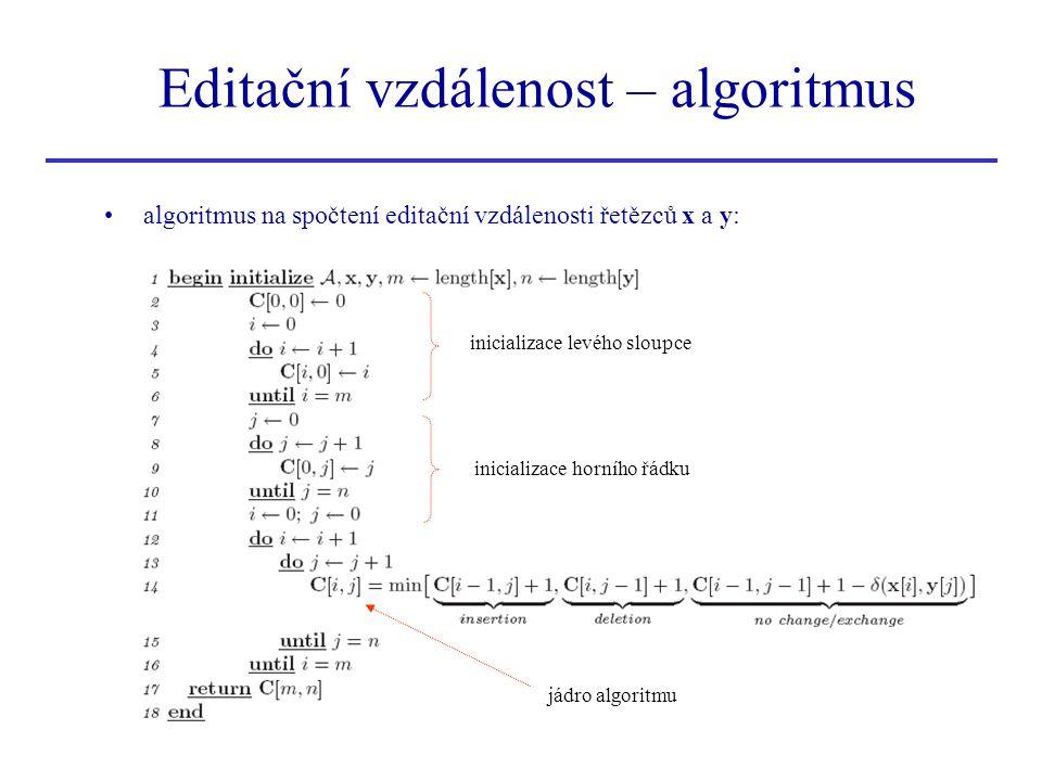 Editační vzdálenost – algoritmus