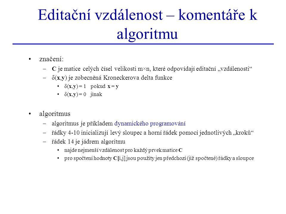 Editační vzdálenost – komentáře k algoritmu