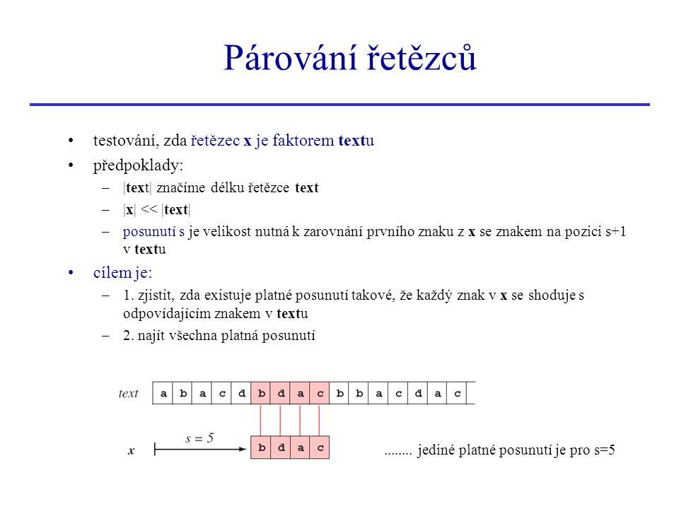Párování řetězců testování, zda řetězec x je faktorem textu