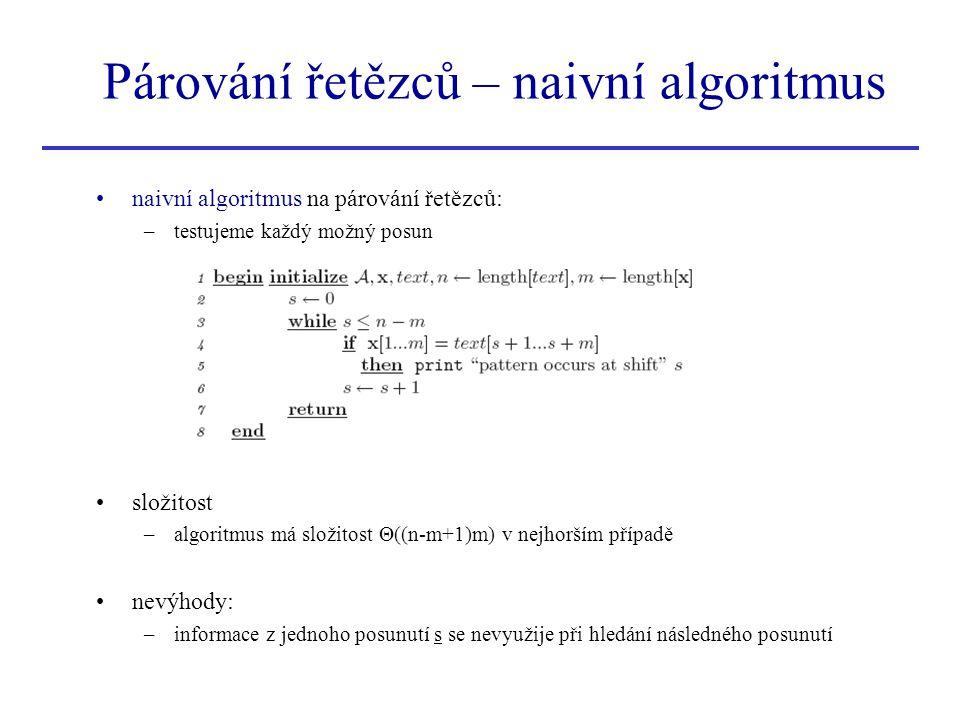 Párování řetězců – naivní algoritmus