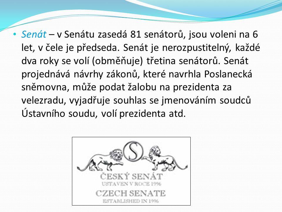 Senát – v Senátu zasedá 81 senátorů, jsou voleni na 6 let, v čele je předseda.