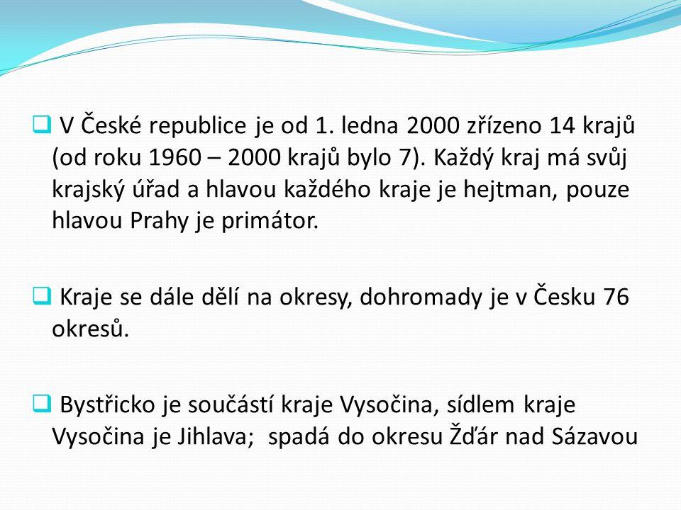 V České republice je od 1. ledna 2000 zřízeno 14 krajů (od roku 1960 – 2000 krajů bylo 7). Každý kraj má svůj krajský úřad a hlavou každého kraje je hejtman, pouze hlavou Prahy je primátor.