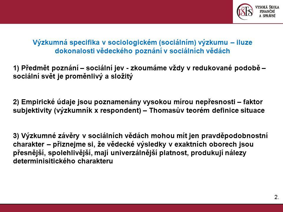 Výzkumná specifika v sociologickém (sociálním) výzkumu – iluze dokonalosti vědeckého poznání v sociálních vědách