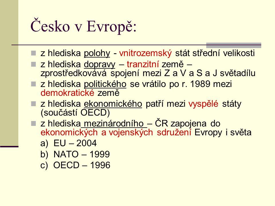 Česko v Evropě: z hlediska polohy - vnitrozemský stát střední velikosti.