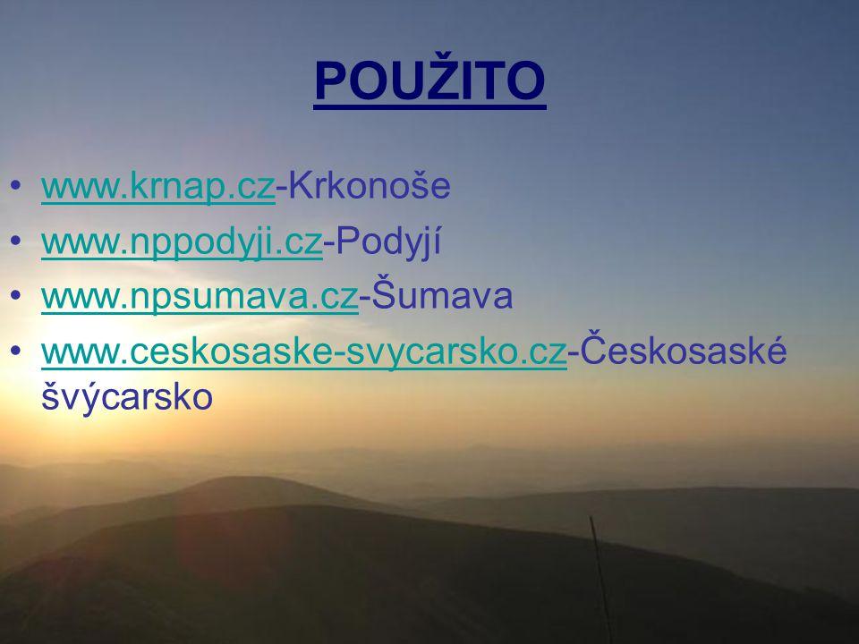 POUŽITO www.krnap.cz-Krkonoše www.nppodyji.cz-Podyjí