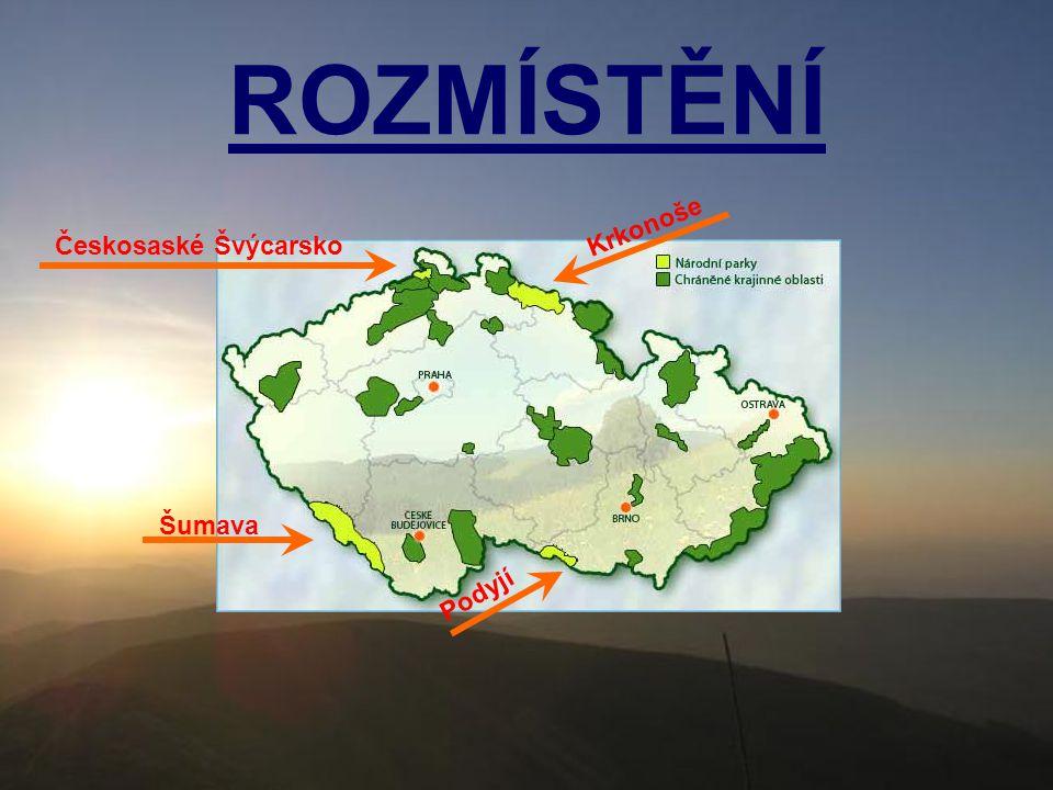 ROZMÍSTĚNÍ Krkonoše Českosaské Švýcarsko Šumava Podyjí