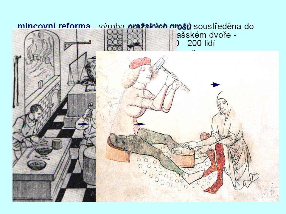 mincovní reforma - výroba pražských grošů soustředěna do jediné manufaktury v kutnohorském Vlašském dvoře - zaměstnáno (podle údajů z 15. st.) 150 - 200 lidí