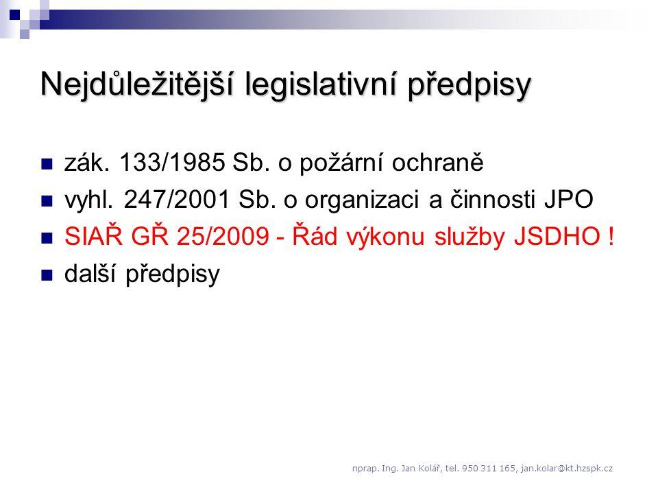 Nejdůležitější legislativní předpisy