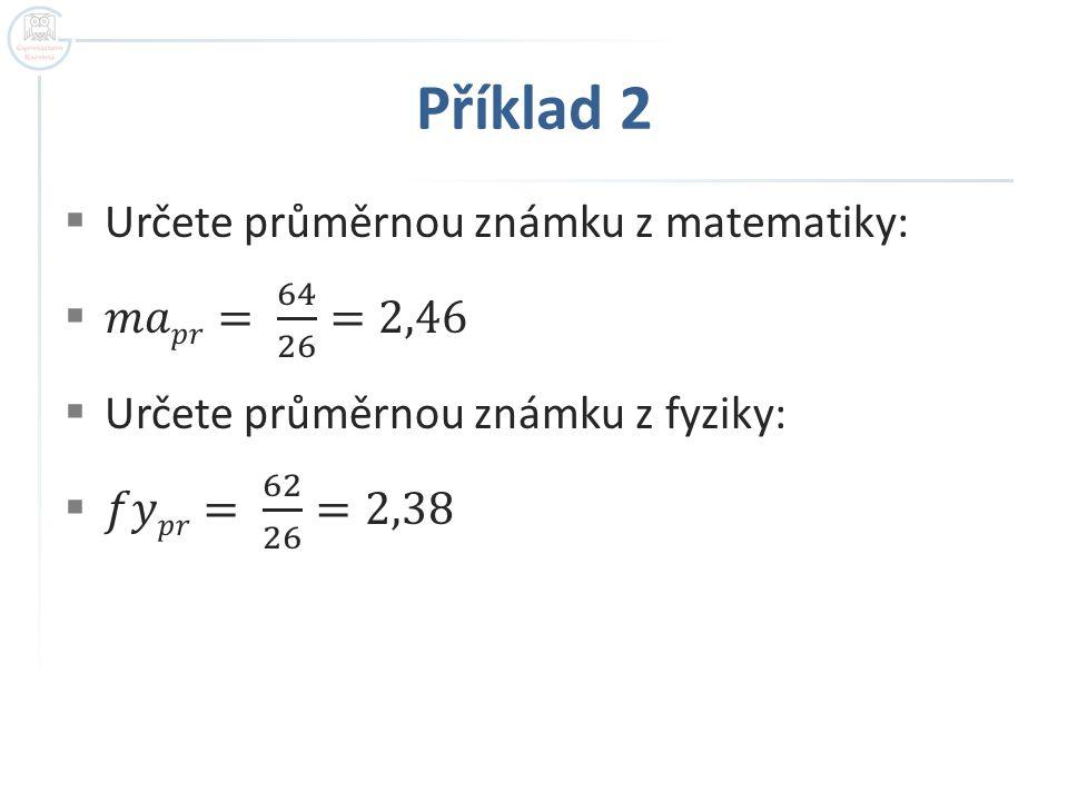 Příklad 2 Určete průměrnou známku z matematiky: 𝑚𝑎𝑝𝑟= 64 26 =2,46
