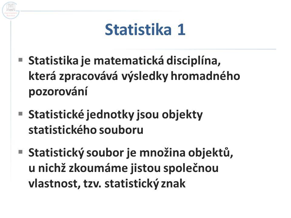 Statistika 1 Statistika je matematická disciplína, která zpracovává výsledky hromadného pozorování.