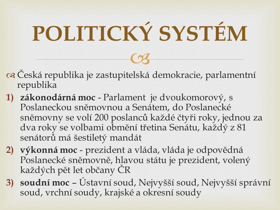 POLITICKÝ SYSTÉM Česká republika je zastupitelská demokracie, parlamentní republika.