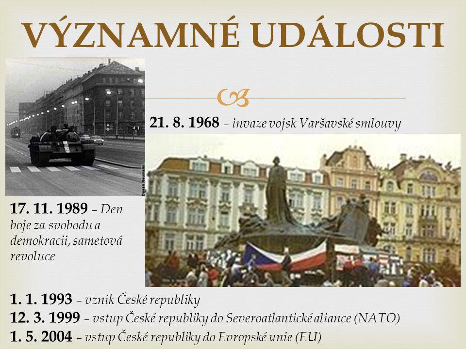 VÝZNAMNÉ UDÁLOSTI 21. 8. 1968 – invaze vojsk Varšavské smlouvy