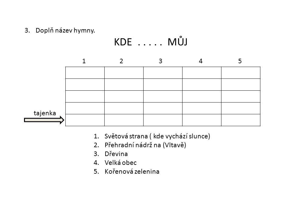 Doplň název hymny. KDE . . . . . MŮJ. 1 2 3 4 5. tajenka. Světová strana ( kde vychází slunce)