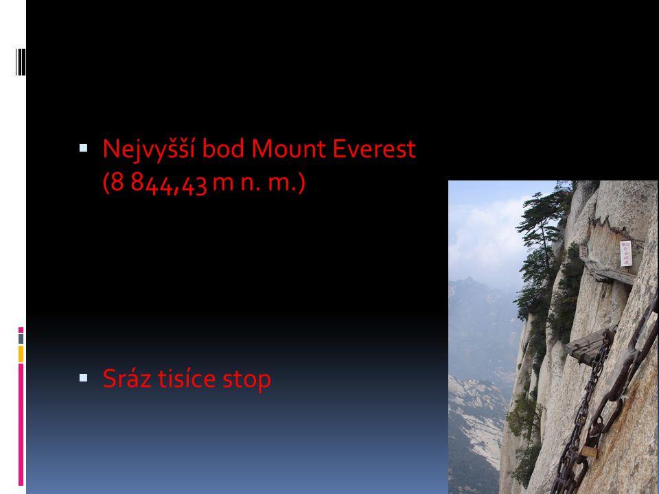 Nejvyšší bod Mount Everest (8 844,43 m n. m.)