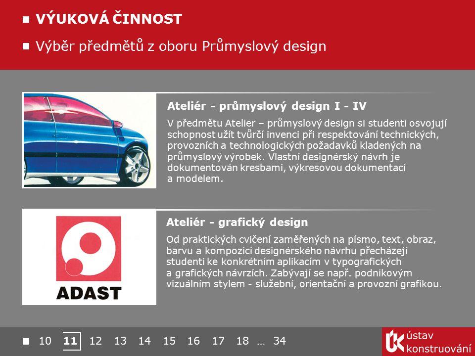 Výběr předmětů z oboru Průmyslový design